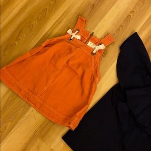 Orange tank top with bow and zipper back